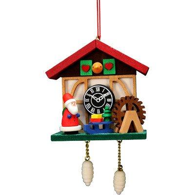 """10-0566 – Christian Ulbricht Ornament – Cuckoo Clock Santa – 4.5″""""H x 2.5″""""W x 1.5″""""D"""