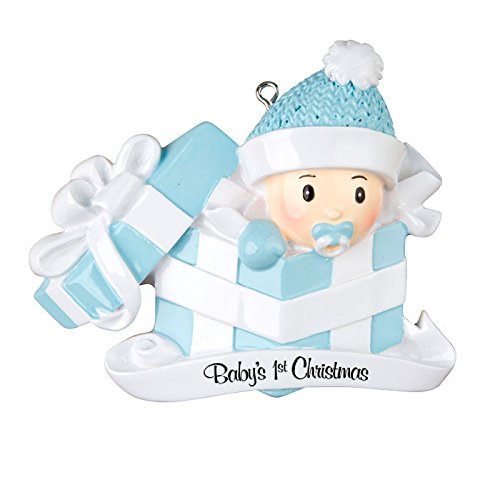 Personalized Ornament BABY'S FIRST CHRISTMAS BABY BOY IN PRESENT