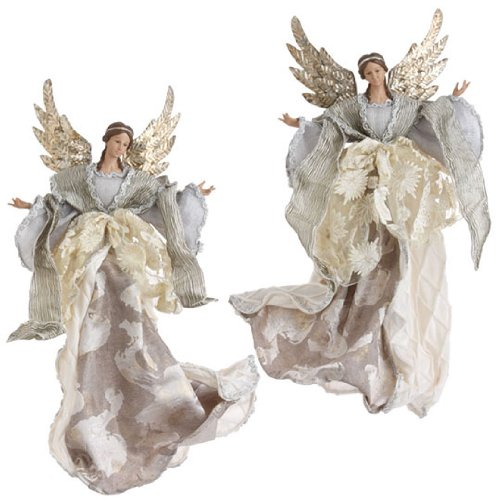 "RAZ Imports 19″ Angel Ornament Set of 2 "" Champange Frost"" 3202567"