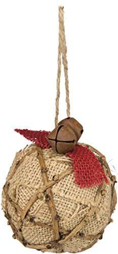 Primitives By Kathy Ornament Burlap Ball with Sparkles