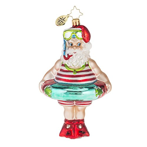 Christopher Radko Splish Splash Santa Glass Christmas Ornament – 5″h.
