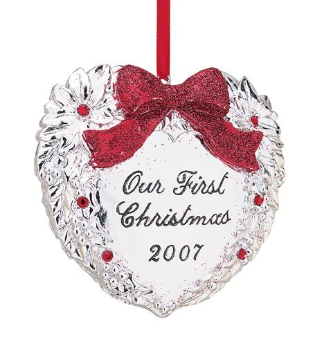 Reed & Barton Silverplate Our First Christmas Heart Ornament