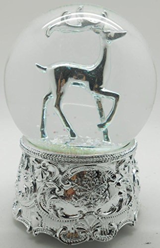 Lightahead® 100MM REINDEER WATERBALL WITH SILVER FINISH BASE AND INSIDE FIGURINE musical water ball Table Top Decoration