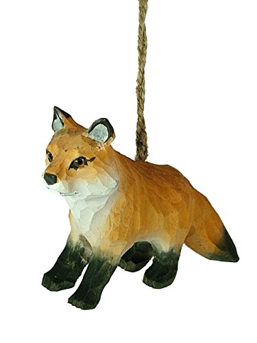 Standing Wood Carved Red Fox Vixen Dog Woodland Animal Christmas Tree Ornament B
