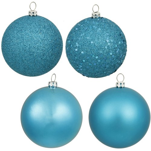 Vickerman 4-Piece Assorted Finish Ornament, 3-Inch, Turquoise, 16 Per Box
