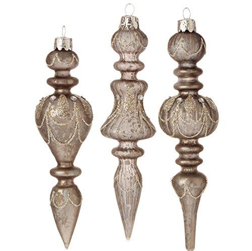 RAZ Imports – Gilded Grey – 7″ Antiqued Grey / Silver Finial Ornaments – Set of 3