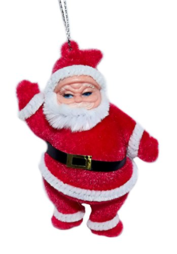 4″ Flocked Santa Ornament (Red)