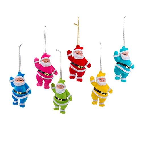 180 Degrees Colorful Flocked Retro Santas Ornaments (Set/6)