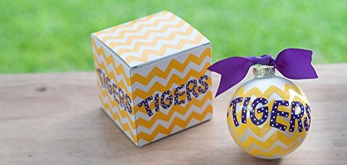 Coton Colors Louisiana State University LSU Chevron Ornament (Lsu). Any Stylish Fan Will Love This Louisiana State University Chevron Ornament… Go Tigers! All Collegiate Ornaments Come Boxed and Tied with a Coordinating Ribbon Making Them the Perfect Gift for Anyone.
