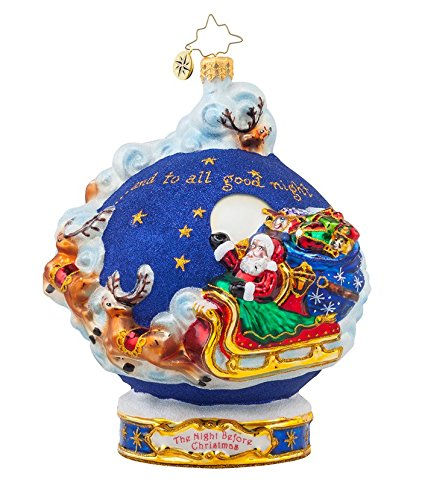 Christopher Radko Glass And to All a Goodnight! Santa Christmas Ornament #1017975