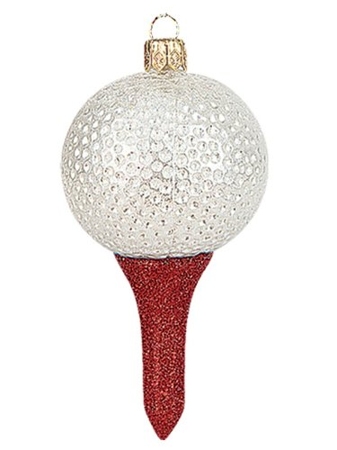 Golf Ball Polish Mouth Blown Glass Christmas Ornament