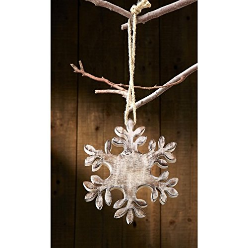 Affordable Sage & Co Sage & Co. Carved Wood Snowflake Christmas Ornament- Pack of 2