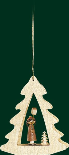 Hanging Christmas Tree Shaped Ornament Girl Holding Stick Lantern, 3.4 Inches