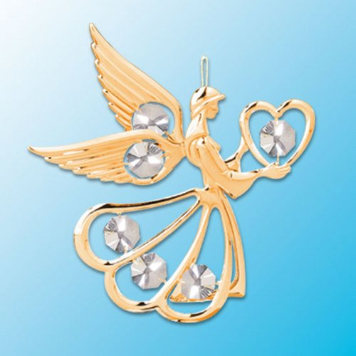 24k Gold Angel with Heart Ornament – Clear Swarovski Crystal