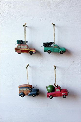 Christmas Village Ornaments Resin Car & Truck, Set of 4, 3.75″ Long