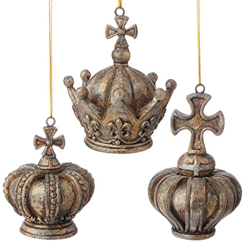 RAZ Imports – Gilded Grey – Set of 3 – 4″ Crown Christmas Tree Ornaments
