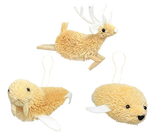 Martha Stewart Bristle Brush Arctic Seal, Walrus, and Reindeer Buri Animal Ornaments (Set of 3)