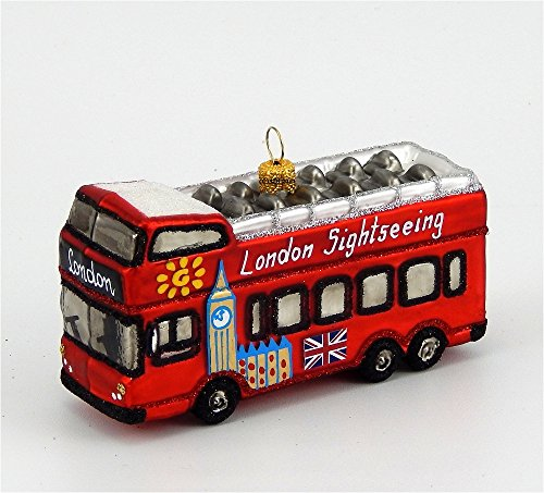 City Tour Bus Blown Glass Ornament