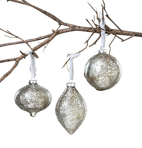 Sage & Co. XAO13857SV Iced Glass Onion Ball Ornament Assortment, 4-Inch