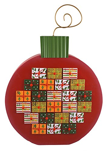 Wood Holiday Ornament Advent Christmas Countdown Calendar with 24 Storage Drawers