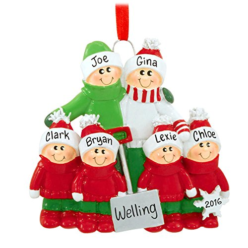 Family of 6 with Snow Shovel Personalized Christmas Tree Ornament