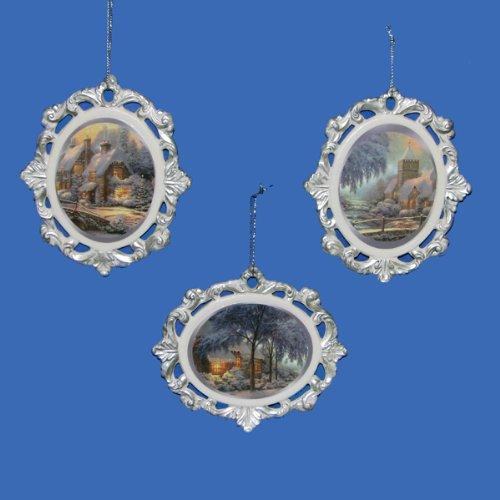Kurt Adler 4″ Porcelain Thomas Kinkade Pierced Ornament W/image 3/asstd