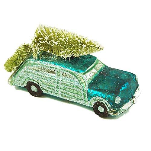 Blue Glass Classic Car Hanging Christmas Tree Ornament