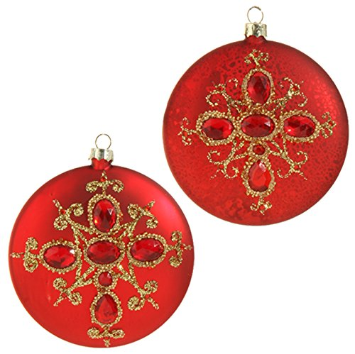 RAZ Imports – Garnet – 4″ Gem Cross Disk Christmas Tree Ornaments – Set of 2