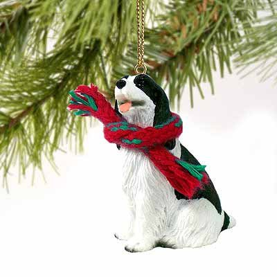 Springer Spaniel Miniature Dog Ornament – Black & White