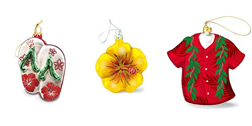 Handpainted Hawaiian Christmas Ornament Bundle with Slippers, Hibiscus and Aloha Shirt with Maile Lei Print – 3 Items