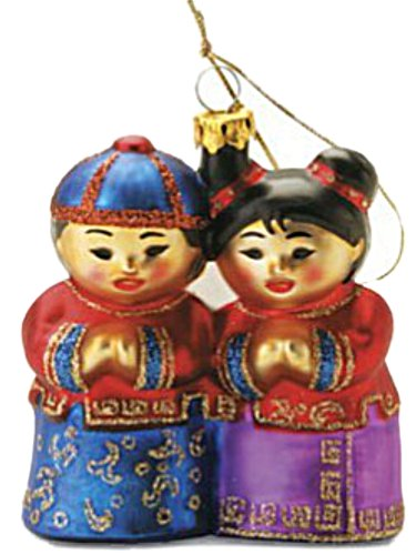 TRADITIONAL ASIAN CHINESE KIDS BLOWN GLASS ORNAMENT