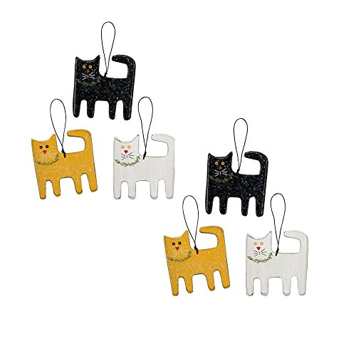 Christmas Cats Ornament Set – 6 Ornaments – 3-1/4-in x 3-1/2-in