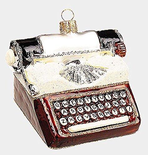 Vintage Typewriter Polish Mouth Blown Glass Christmas Ornament