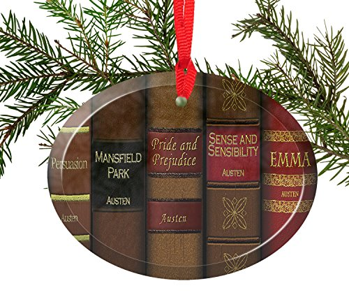 Jane Austen Novels Glass Christmas Ornament
