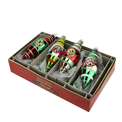 4ct Christopher Radko Shiny Brite Holiday Splendor Tulip Finial Reflector Christmas Ornaments 5.5″
