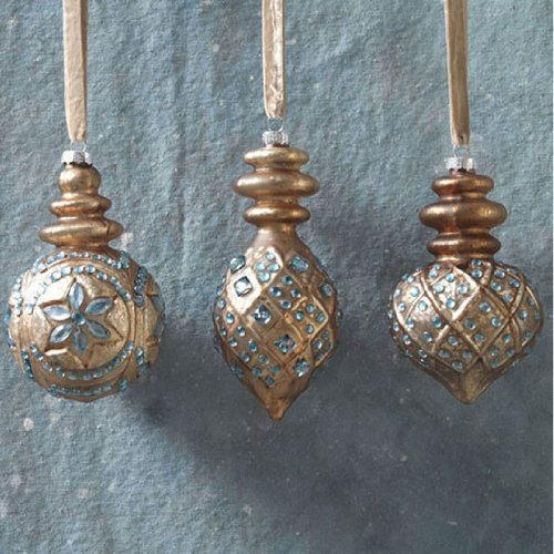 RAZ Imports – Brown and Silver Jeweled Glass Ornaments
