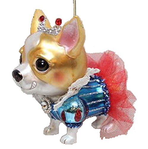 December Diamonds Blown Glass Ornament – Chihuahua in Red Skirt and Crown