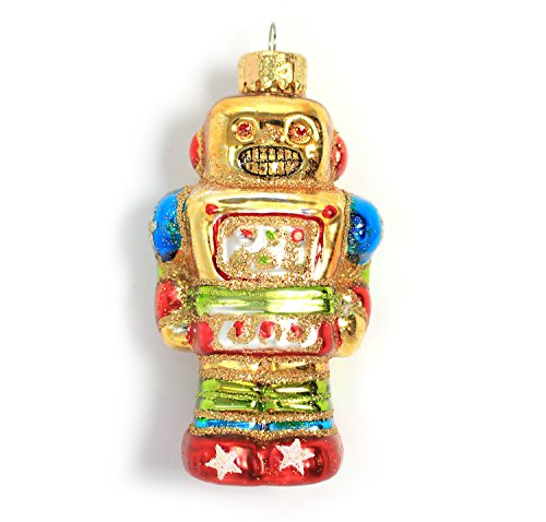 Holiday Lane Molded Glass 4-inch Robot Christmas Ornament