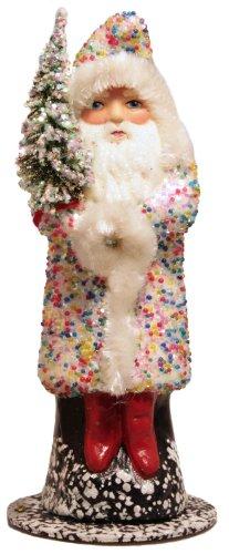 Ino Schaller Multicolor Beaded Coat Santa German Paper Mache Candy Container