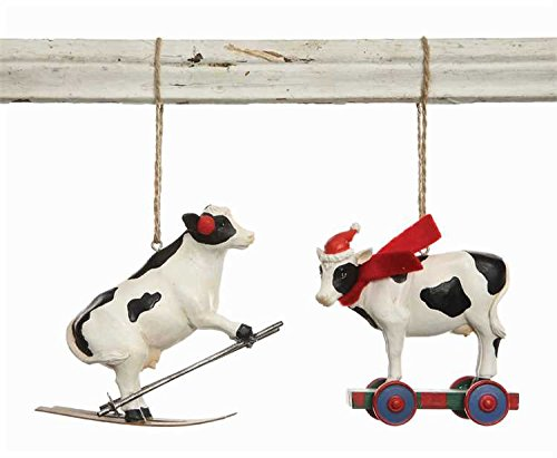 Cow Christmas Ornaments – Set of 2 – Resin