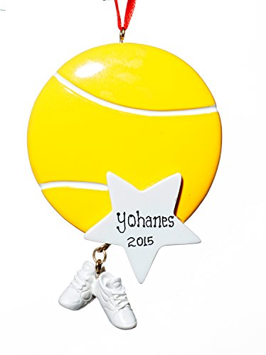 Sports Christmas Holiday Tennis Star Ornament-Free Name Personalziation-Shipped In One Day