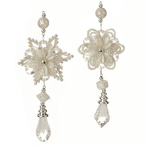 RAZ Imports – Formal Affair – 7.5″ Snowflake Drop Christmas Tree Ornaments – Set of 2