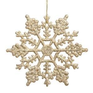 Vickerman Plastic Glitter Snowflake, 4-Inch, Champagne, 24 Per Box