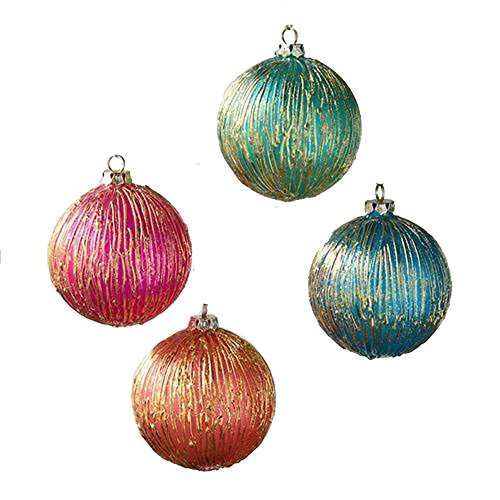 One Hundred 80 Degrees Orange Pink Blue Green Gold Glass Ornaments (Set/4)