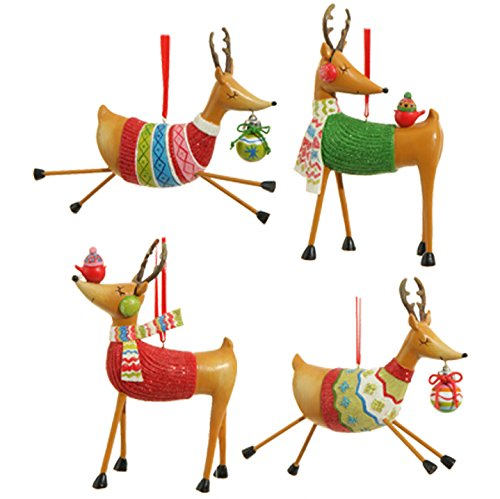 RAZ Imports Exclusive – 5.5″ Reindeer in Sweaters Christmas Tree Ornaments – Set of 4