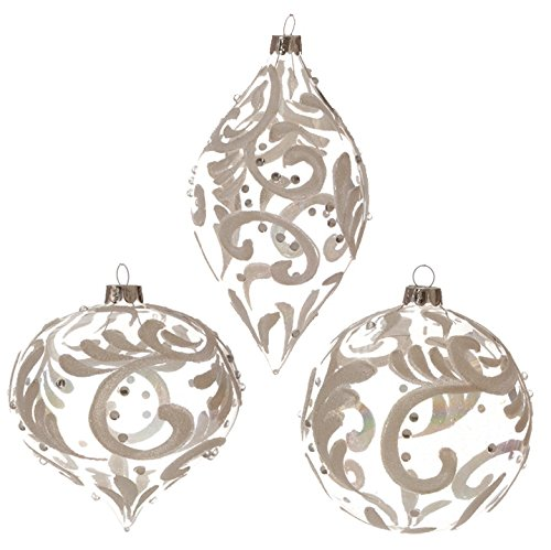 RAZ Imports – 4″ Opalescent Swirled Design Christmas Tree Ornaments – Set of 3