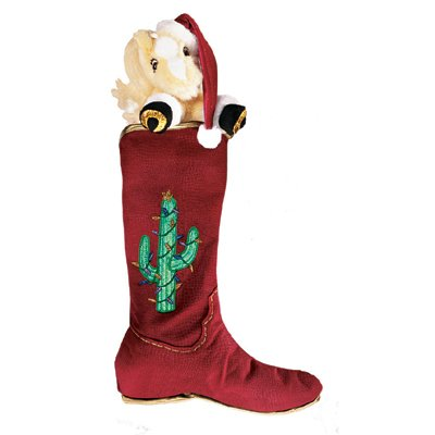 D — STOCKING HOLIDAY WESTERN (RED W/CACTUS) RETI