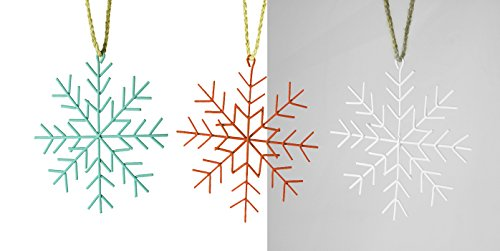 Set of 3 Tin Snowflake Hanging Christmas Tree Ornaments