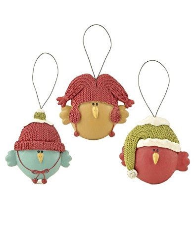 Blossom Bucket Birds with Hat Ornaments Christmas Decor (Set of 3), 2-1/4″ High