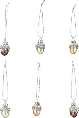 Primitives By Kathy Miniature Acorn Glass Ornaments 6pc Set #21821